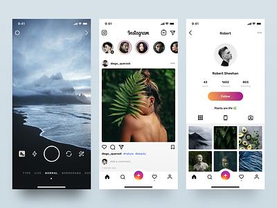 Instagram Redesign Visual Concept design video interface concept profile clean mobile camera photo ios ui ux instagram app