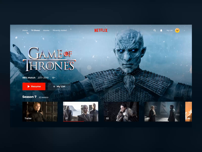 NETFLIX TV Show Card Concept ux ui video interface concept app tv shows design cinema principle ae animation smart smart tv netflix game of thrones hbo