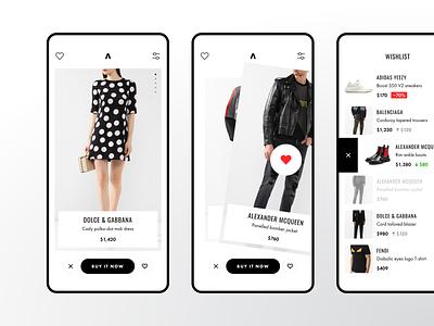 Concept of shopping App brands wishlist swipe store shop luxury principle mobile ios badoo tinder ux ui app