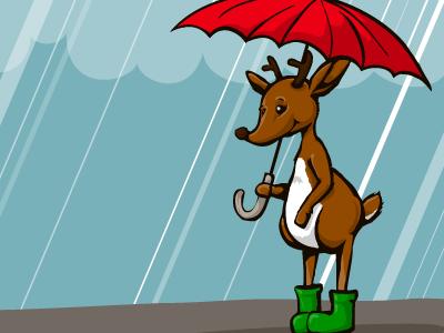 Reindeer with umbrella