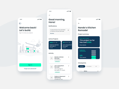 Home Construction app mobile flat design illustration ux ui minimal app