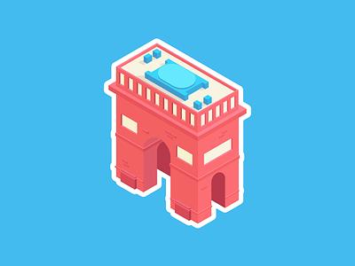 Arc de Hype Town graphic design design vector paris france blue red isometric illustration illustrator