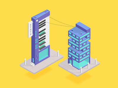 Gene's Synth Bar and Jenga Complex minimal web clean flat mobile design vector illustration isometric bobs burgers