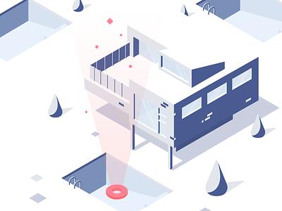Morning Vortex web isometric illustration flat minimal vector clean blue design snow summer