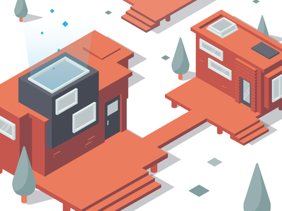 A modern container park web red illustration flat minimal vector graphic design clean isometric design