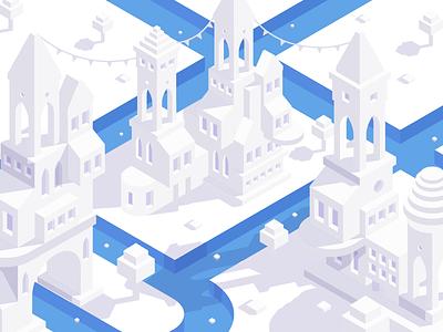 A Flat White Town web blue graphic design flat minimal design illustration vector isometric