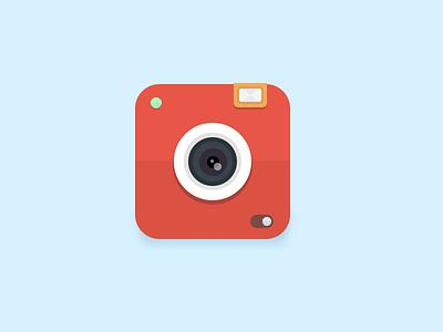 camera icon minimal creative art artist simple flat camera clean icon icons illustration flat design ui mobile lens red