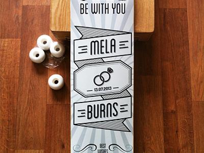 custom skateboard skateboard deck custom starwars married wedding gift illustration typography logo design board