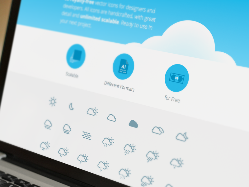 Free Download | Simple Weather Icons icon weather simple clean web download free ai gui flat freebie freebies