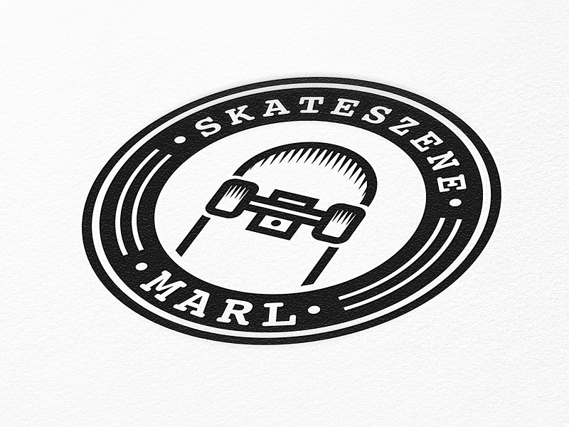 SKATESZENE MARL Logo logo simple clean skate skateboard scene black white paper