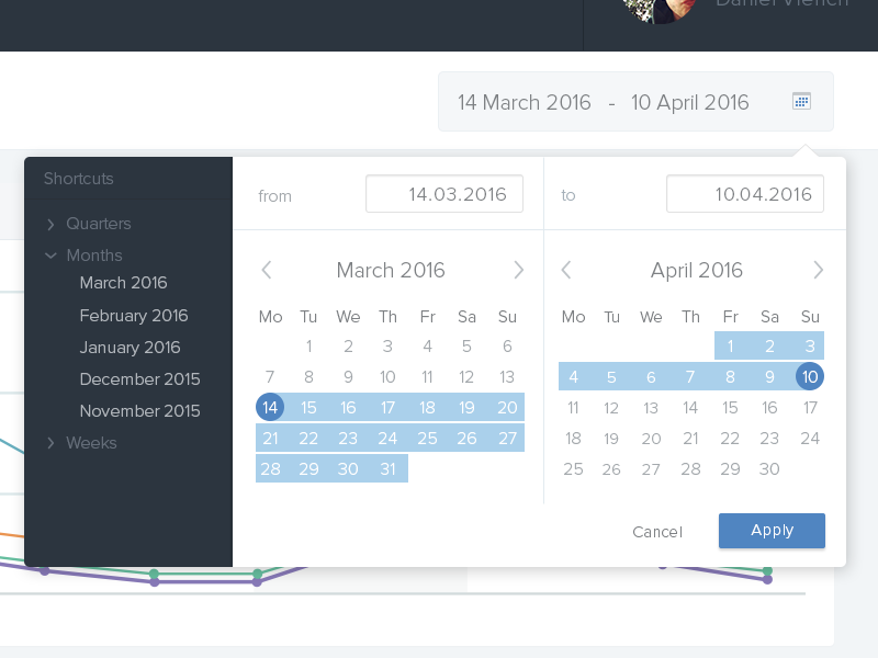 Dribbble datepicker