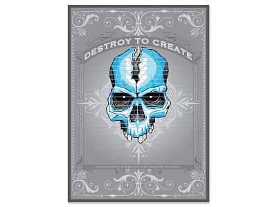 Dtc poster poster design vector create destroy skull poster