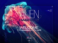 Alien habitats unexplored website concept.
