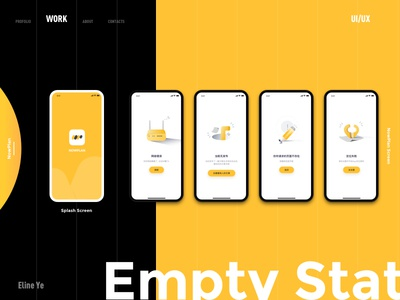 Travel App-Empty States contrast nowplan travel work empty states black yellow app ui