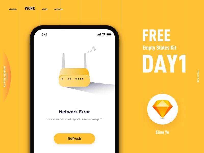 FREE empty states kit - Day1 interface app 2018 black yellow work refresh error network nowplan sketch travel app travel design ui day1 kit states empty free