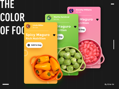 Day2 - The color of food - Interface colorful ui ui  ux design food app ui100days dynamic yellow green pink
