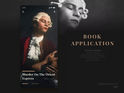 Day5 - Book Application -animation book book app app animation ui100days ui  ux design ui art cinema popular picture interface luxury black black and gold gold typegraphic