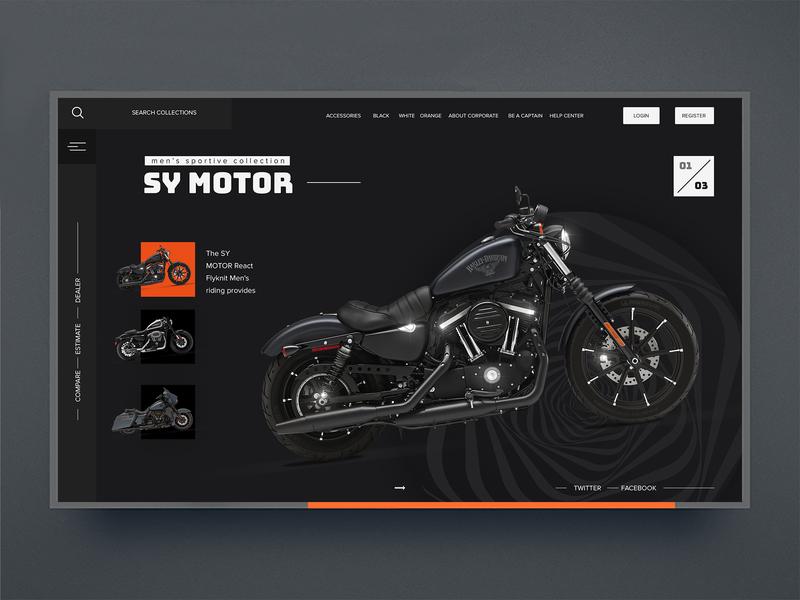Day8-Selection of Motor ui100days daily 100 dailyui design web website luxury black orange goods selection bike motorbike motor