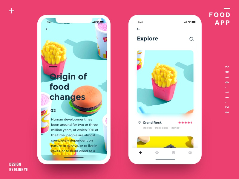 Daily design 18/100 - Food UI app motion colorful app fried hamburger icon hamburger food motion animation design ui100days daily ui animation app ui ux interface gif dynamics uidesign design