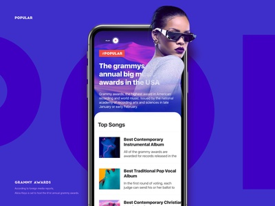 Daily design 32/100 -a cool color news interface elineye video cold cool ui design ui100days ux interface gif app uidesign motion daily ui uikit colorful singer song popular pop news