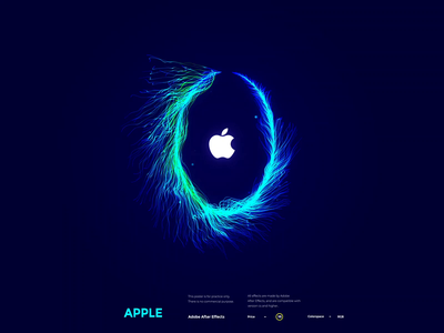 Daily design 35/100 -AE particular Apple countdown poster circle line feather cool green blue elineye poster dynamic video motion gif effect countdown apple particle particular ae design daily