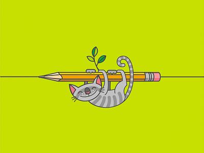 Кот-ленивец selfportrait lazy pencil creativity cat illustration