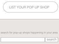 Wireframe for pop up shop app
