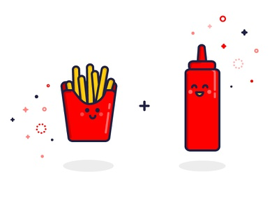 Ketchup & Fries burgers food characters macdonalds fries catsup ketchup