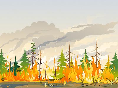 Burning Forest illustration vector wildfire siberia landscape nature disaster fire forest