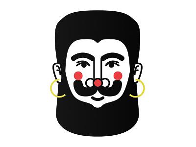 Noa noa illustration rouge gods best friend handlebar mustache big hooped earrings