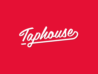 Taphouse calligraphy logo red white