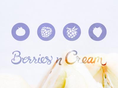 Berries n Cream Logo Versions logo branding circle fruit berry script type lettering