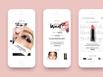 Sephora Collection Refresh forms educational product carousel tiles typography layout interactive module mobile ui visual