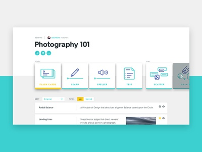 Quizlet Refresh filter icons carousel tiles typography layout grid module website web ui visual