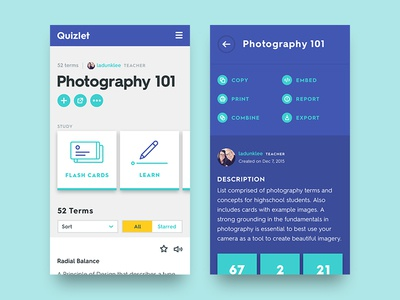 Quizlet Mobile Refresh filter icons carousel tiles typography layout grid module website mobile ui visual