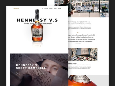 Hennessy LE editorial gallery product carousel tiles typography layout interactive module web ui visual