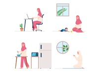 Female Moslem Pray And Do Daily Activity At Home moslem islam muslim home activity religion flat vector illustration