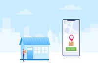 Delivering Packet shipment shipping online shop ecommerce vector illustration