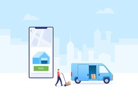 Shipping Cargo smartphone app ecommerce app marketing send logistic transportation truck van shipping box ecommerce online shop cargo shipping vector illustration