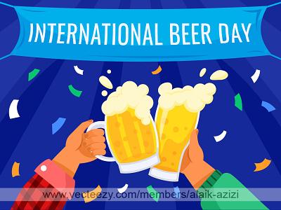 Beer Toasting international beer day party beer