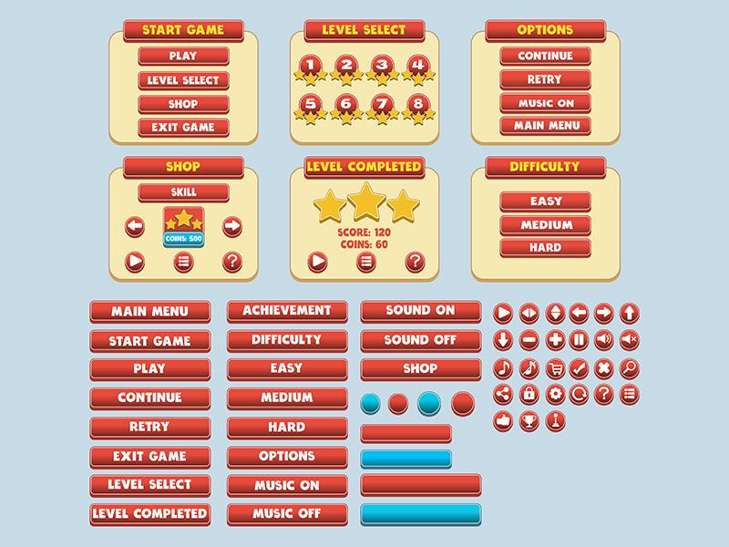 Game Simple Flat Gui Pack by Alaik Azizi on Dribbble