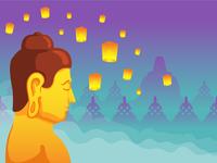 Face Side Buddha For Vesak Day Greeting Card