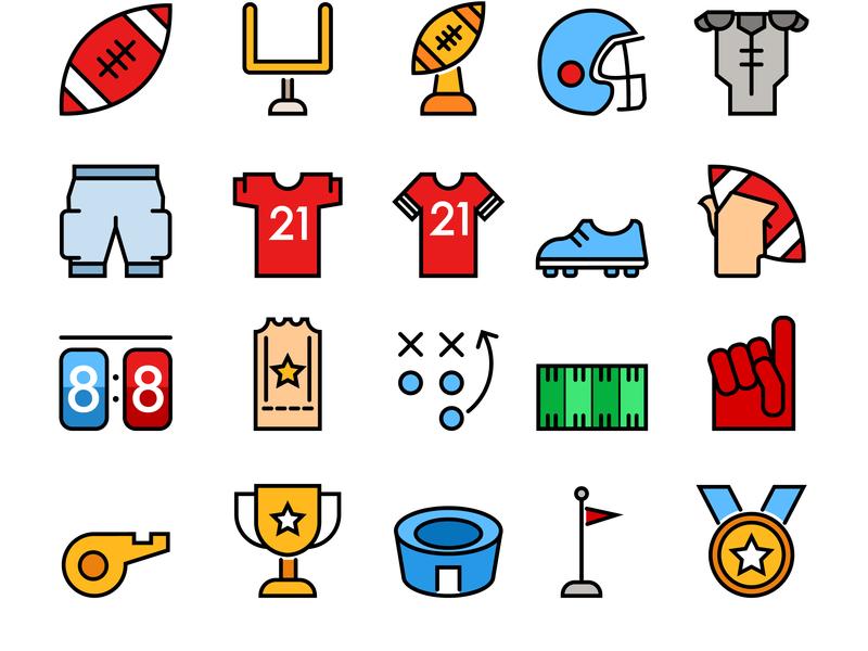 American Football Theme Simple Color And Line Icon line simple interface icon football american america sport graphic  design ui design vector illustration