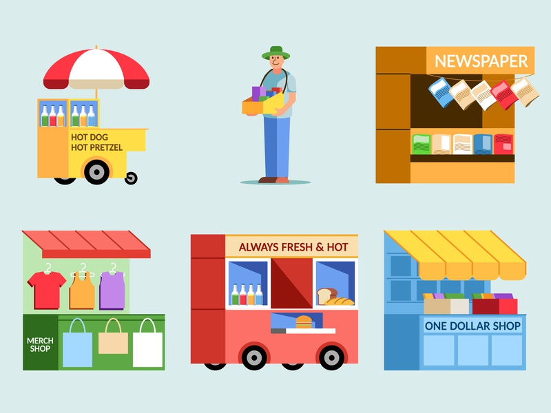 Street Vendor Variety Collection Set shop retail sell stall vendor street flat design vector illustration
