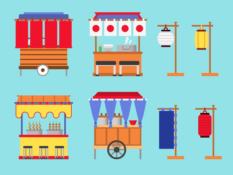 Japanese Street Food Shop Collection traditional japan japanese sellers stall street vendor seller food flat illustration vector