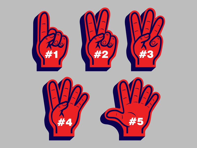 Counting Finger Glove Sport Fans five one counting sport supporters fans glove hand finger vector illustration
