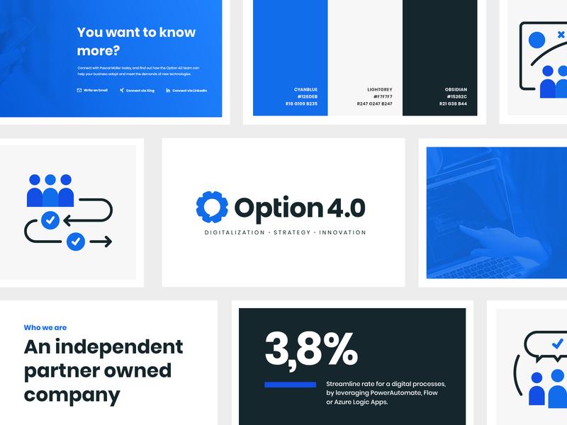 Option 4.0 Branding blue corporate branding corporate design corporate identity icon typography interface branding ui illustration logo design