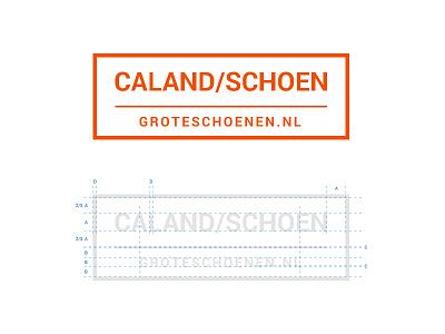 Logo Caland/Schoen align spacing typography orange branding logo