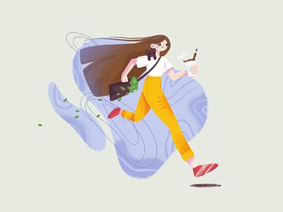 Girl with coffee leaf cat cup coffee girl run