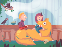 They talk boy girl trees smoke food cafe forest fox wolf couple